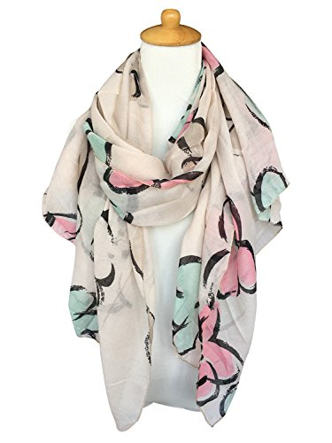 Review GERINLY Lightweight Shawl Wrap: Womens Pastel Flowers Print Scarves (Khaki)