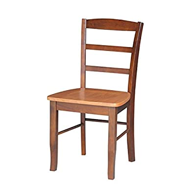 International Concepts Pair of Madrid LadderBack Chairs, Cinnamon/Espresso - Easy to assemble Made from solid parawood - kitchen-dining-room-furniture, kitchen-dining-room, kitchen-dining-room-chairs - 415V4ePYJsL. SS400  -