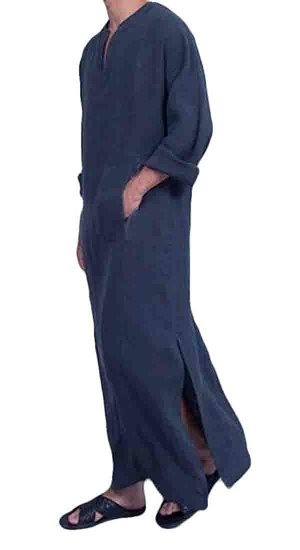 XiaoTianXinMen XTX Mens Long Sleeve Islamic Linen V Neck Pockets Muslim Long Shirts