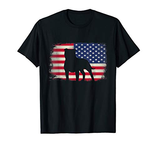 Staffordshire Bull Terrier American Flag 4th July Patriotic T-Shirt