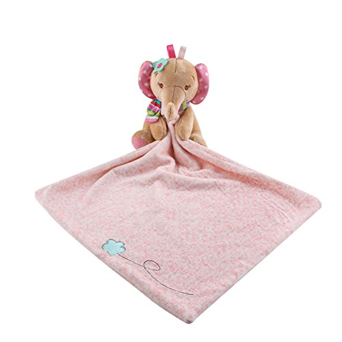 - Toys Elephant Snuggler,Baby Blankie Plushy Security Blanket(Pink)