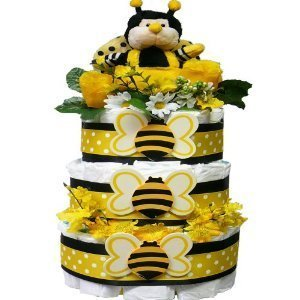 Bee My Baby Diaper Cake Gift Tower, Neutral for Boys or Girls (Dropship Baby Gifts)