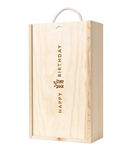 WBC 2 botellas Caja de madera con tapa de Feliz cumpleaños ...