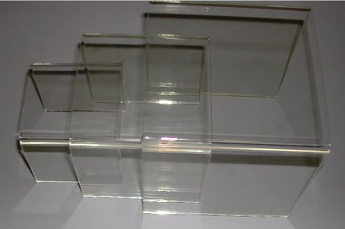 Acrylic Plexi Clear 3'' 4'' 5'' Square U Nest Risers Lot of 24 Sets 72 Total NEW by SourceOne