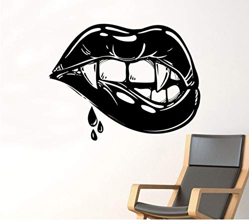 Pbldb Female Lips Wall Decal Vampire Kiss Vinyl Sticker Sexy Make Up Art Painting Wall Stickers Vinyl Decor Decals 44Cm X44Cm