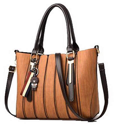 AllhqFashion Nero Donna Style Tote Marrone FBUIBC181793 Borse tracolla Dacron a Moda Vestito 11wSdZrqxv