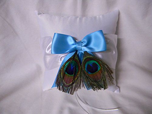 Wedding Party Ceremony Turquoise with Peacock Feathers Ring Bearer Pillow by Designed by Regina
