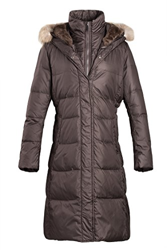 Fur Trim Long Hooded Coat (ADOMI Women's Long Hooded Thickened Down Coat with Fur Trim Coffee XL)