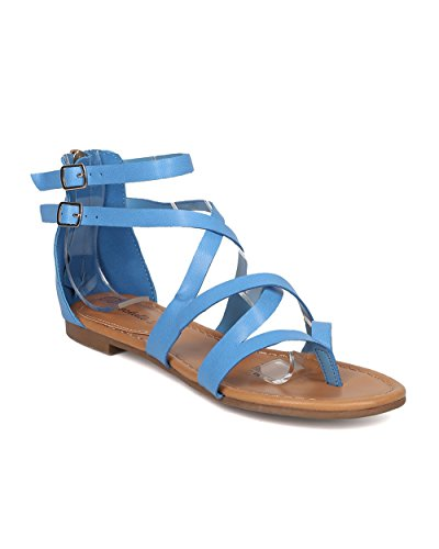 Women Criss Cross Gladiator Sandal - Casual, Costume, Girls Night - Strappy Flat Sandal - GG54 By Breckelles - Blue (Size: (Gladiator Costumes For Women)