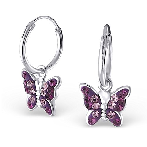 Price comparison product image 925 Sterling Silver Dangling Purple Crystal Butterfly Hoop Earrings 20032