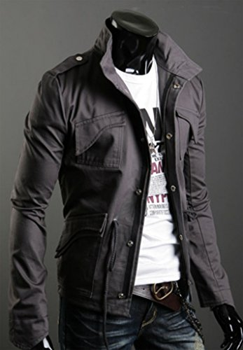 Veste Homme Gris Blouson Militaire Coton Masculine Manteau Wslcn TBqU1U