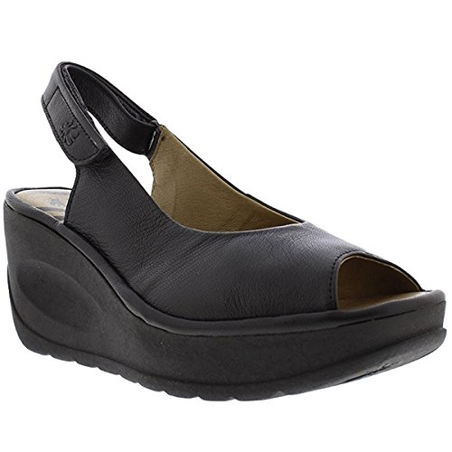 FLY London Womens Jali 863 Black Leather Sandals 39 EU by FLY London