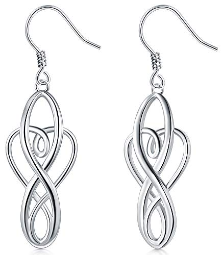 925 Sterling Silver Earrings, BoRuo Celtic Knot Dangle Earrings Good Luck Irish Celtic Knot Vintage Dangles for Women,Girls Teardrop Earrings Comfort Fit Platinum Earrings