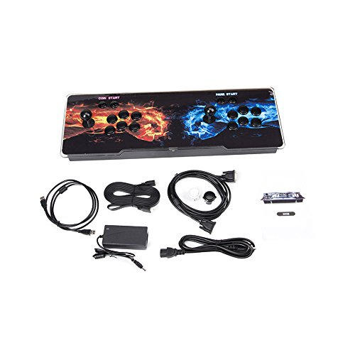 FUT Ultra Slim Metal Double Joystick and Buttons Arcade Game Console, 986 Classic Games Machine 2 Players Pandora's Box Plus, For Arcade Joystick Windows PC & TV VGA HDMI Output ()