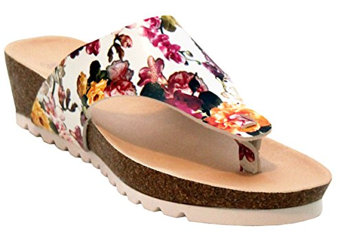 A&H Footwear Womens Ladies Floral Pattern Wedge Heel Toe Post Girls Summer Beach Sandals Shoes UK Sizes 3-8 White Floral pvUhqAcq