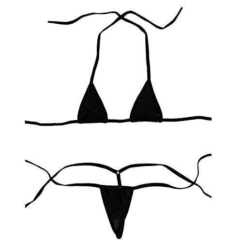 - Luckilia Women's Sheer Extreme Bikini Halterneck Top and Tie Sides Micro Thong Sets (Black),One Size