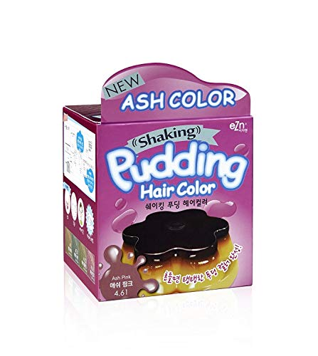 EZN Shaking Pudding Hair Dye Kit Color 4.61 Ash Pink No Ammonia Self Hair Dye Kit Contain Keratin Korean Beauty