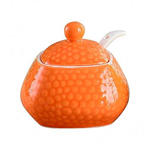 - Elegant Embossed Ceramic Sugar Bowl Salt Pepper Pot Spice Storage Jar Condiment Seasoning Box Pot Container with Lid and Spoon for Home Kitchen, Orange