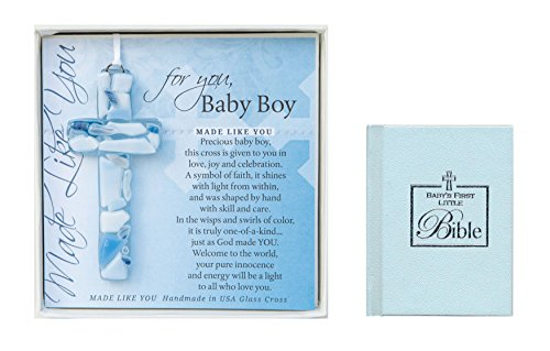 Personalized Boys Wall Cross (Christening Gifts For Boys Gift Set Handmade in the USA Glass Baptism Wall Cross for Baby Boys and Babys First Bible for Boys Great Baptism Gifts for)