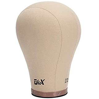"""GEX 20""""-24"""" Cork Canvas Block Head Mannequin Head Wig Display Styling Head With Mount Hole 22"""""""