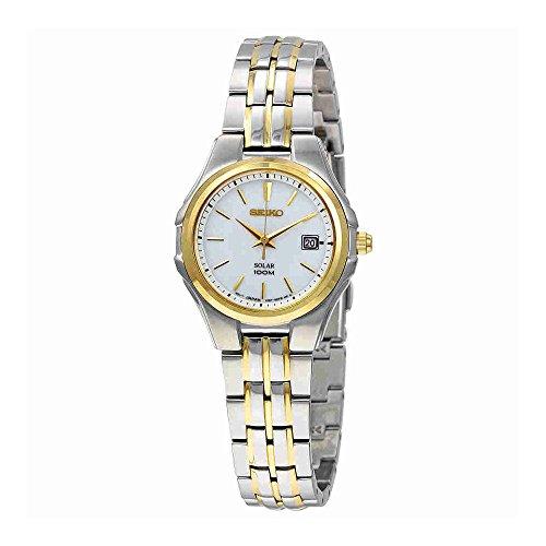 Seiko Gold Tone Wrist Watch - Seiko Women's SUT222 Ladies Dress Solar-Powered Two-Tone Stainless Steel Watch