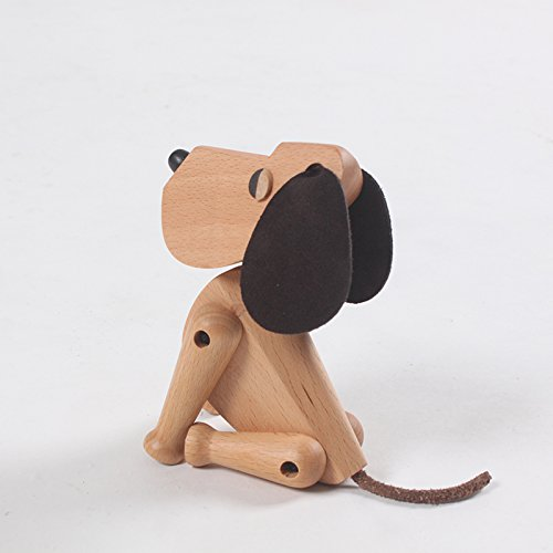 Nordic Style Teak Wood Creative Animal Statues Models Home Decoration Arts and Crafts (Dog)
