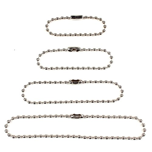 Ginooars Pack of 100 Bead Chains Bead Connector Clasp Ball Chains -25pcs Each Size 4 Different Size: 100mm/120mm/150mm/200mm ()