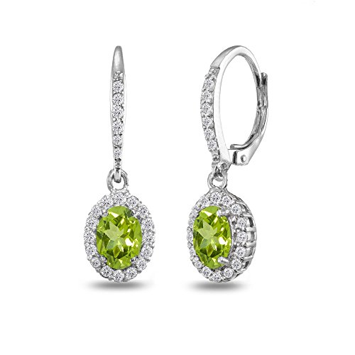 Sterling Silver Peridot Oval Dangle Halo Leverback Earrings with White Topaz Accents - Oval Peridot Polished Earrings