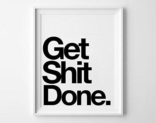 """Get Shit Done"" Motivational Canvas Poster - Lemonchest.com - 16x20 Inches"