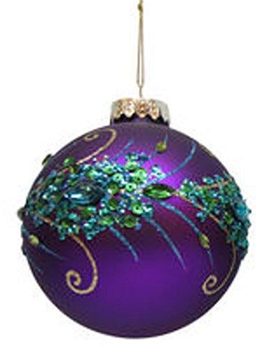 December Diamonds Blown Glass Peacock Design Ornament (Purple)