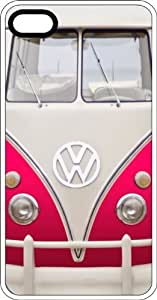 MMZ DIY PHONE CASEClassic Pink VW Bus Van White Rubber Case for Apple iphone 5c