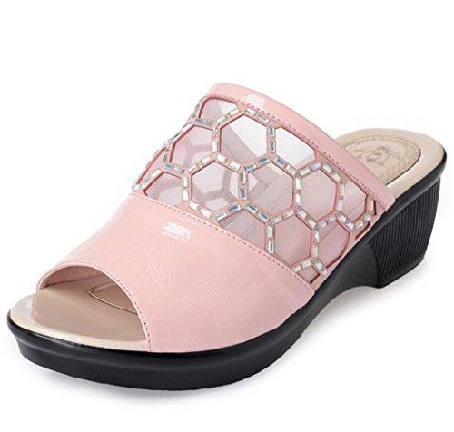Blu Pantofole con Rosa Taglia Zeppa con Rosa DANDANJIE Estate Rosa con Zeppa 67fda9
