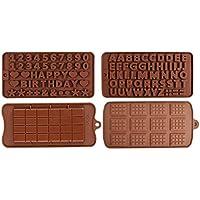 Moldes de Silicon Para Chocolate Juego de 4 Piezas, grado alimeticio, para horno, refrigerador y microondas, Para…