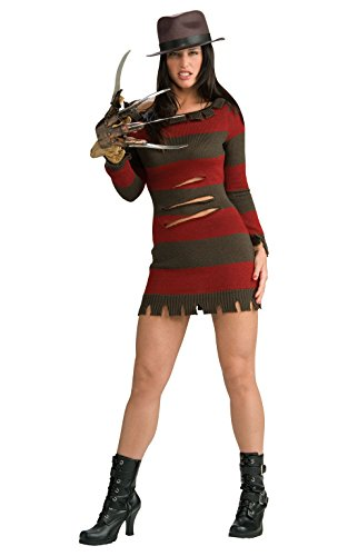 Freddy Krueger Costumes Girl (Secret Wishes Miss Krueger Costume, Red, XS (0-2))