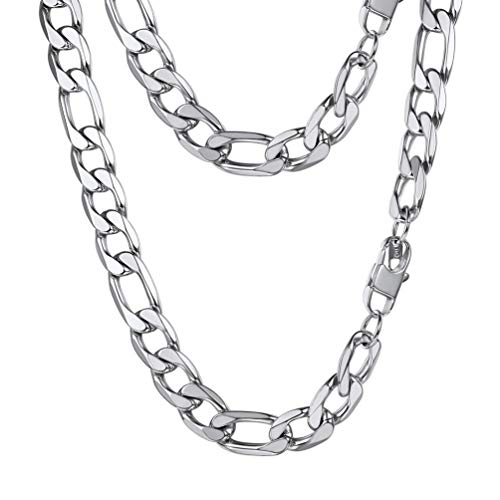 PROSTEEL Figaro Link Necklace Stainless Steel 13mm Big Wide Chain Chunky Choker Necklace 24'' Men Jewelry Gift (Figaro 13mm Chain)