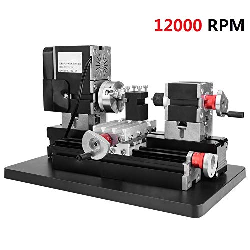 Metal Mini Lathe 12000RPM 60W 12V DC 5A Heavy Duty Power Mini Metal Machine Motor Woodworking Soft Metal DIY Tool Modelmaking with Belt Protection Cover