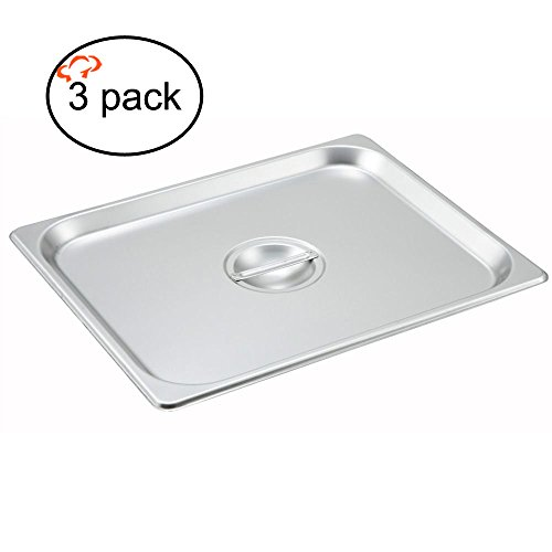 Tiger Chef 1/2 Size Stainless Steel Steam Table Pan Cover, Half Size, Non-Stick Surface, Half Pan Lids for 1/2