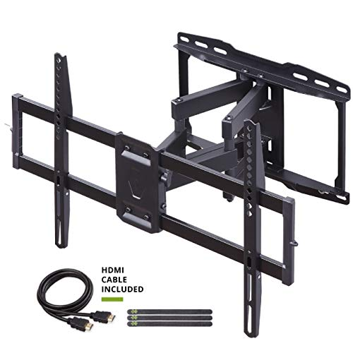 Full Motion TV Wall Mount Bracket Dual Swivel Articulating Tilt 6 Arms for Most 37-70 inch Flat Screen, LED, 4K TVs, with Max VESA 600x400mm and Fits 12' 16' Studs by USX MOUNT