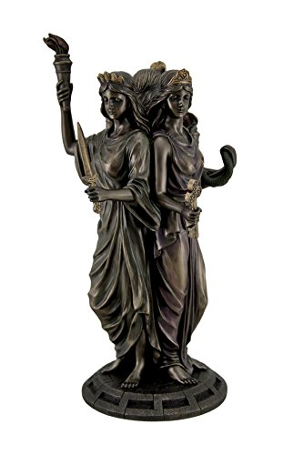 Resin Statues Wu76641a4 Large Bronze Finish Greek Goddess Hecate Triple Goddess Statue Figurine 7 X 11.75 X 7 Inches Bronze -  Unicorn Studios