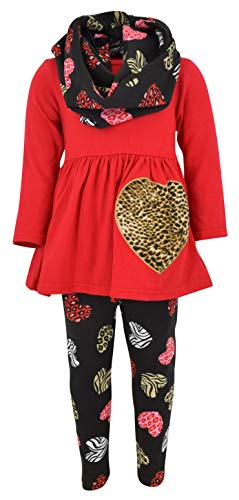 Unique Baby Girls Valentine's Day Animal Print Hearts Legging Set (7/XXL, ()