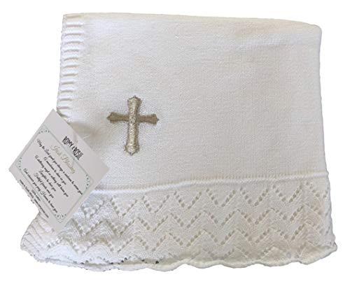 (Keepsake Heirloom Style 100% Cotton Knit Christening/Baptism Blanket (Lacy Stroller)