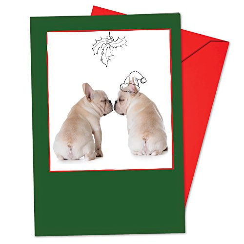 12 'Dogs and Doodles Mistletoe' Boxed Christmas Cards w/ Envelopes 4.63 x 6.75 inch, Puppies and Illustrations Holiday Notes, Christmas Doggies with Santa Hats in Black and White Sketches B6582FXSG -