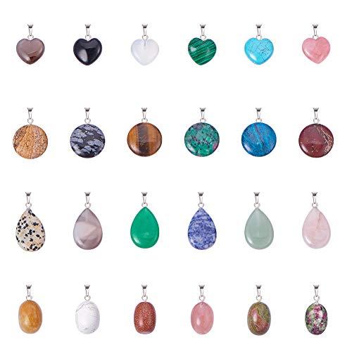 Gemstone Oval Pendant Bead - PH PandaHall 24PCS 4 Styles Quartz Gemstone Chakra Stone Charm Pendants for Necklace Jewelry Making(Heart, Flat Round, Oval, Drop)