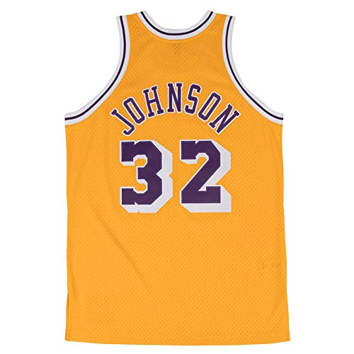 Sjdsuer Mens Johnson Jersey Los Angeles Adult Gold 32 Earvin Basketball Yellow Size (Yellow, (Magic Johnson Jersey)