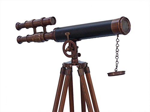 "Hampton Nautical Floor Standing Antique Copper with Leather Griffith Astro Telescope, 50"""