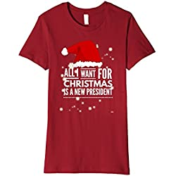 Womens All I Want For Christmas Is A New President Anti Trump Shirt Large Cranberry