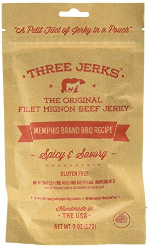 Three Jerks Jerky, Jerky, Memphis Bbq, Pack of 12, Size - 2 OZ, Quantity - 1 Case