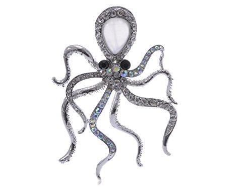 Alilang slive Tone Colored Rhinestones Nautical Rose Octopus Brooch Pin -