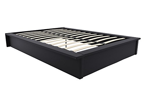 DHP Maven Platform Bed with Upholstered Faux Leather and Wooden Slat Support, Queen Size - Black - Queen Base