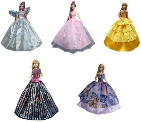 バービー人形の変身服/ポルカドットの着物/高貴なドールコスチューム/刺繍ドレス・ワンピース/人形のウエディングドレス、11.5インチ